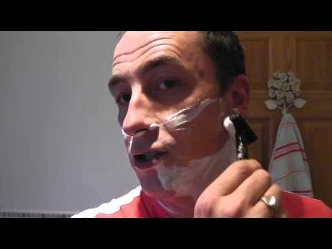Shaving using a Wilkinson Sword Classic Razor.