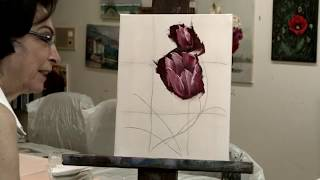 Painting A Tulip with a Palette Knife: Easy Step By Step Instruction