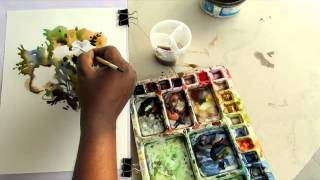 watercolor painting tutorial flowers by shohag parvez. 2015