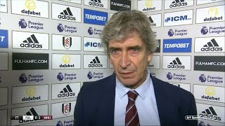 """West Ham are playing like a top-level side"" Pellegrini speaks after fourth win in a row vs Fulham"