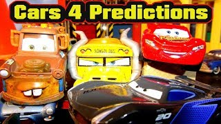 Pixar Cars 4 Predictions with Lightning McQueen Cruz Ramirez, Mater, Miss Fritter and Jackson Storm
