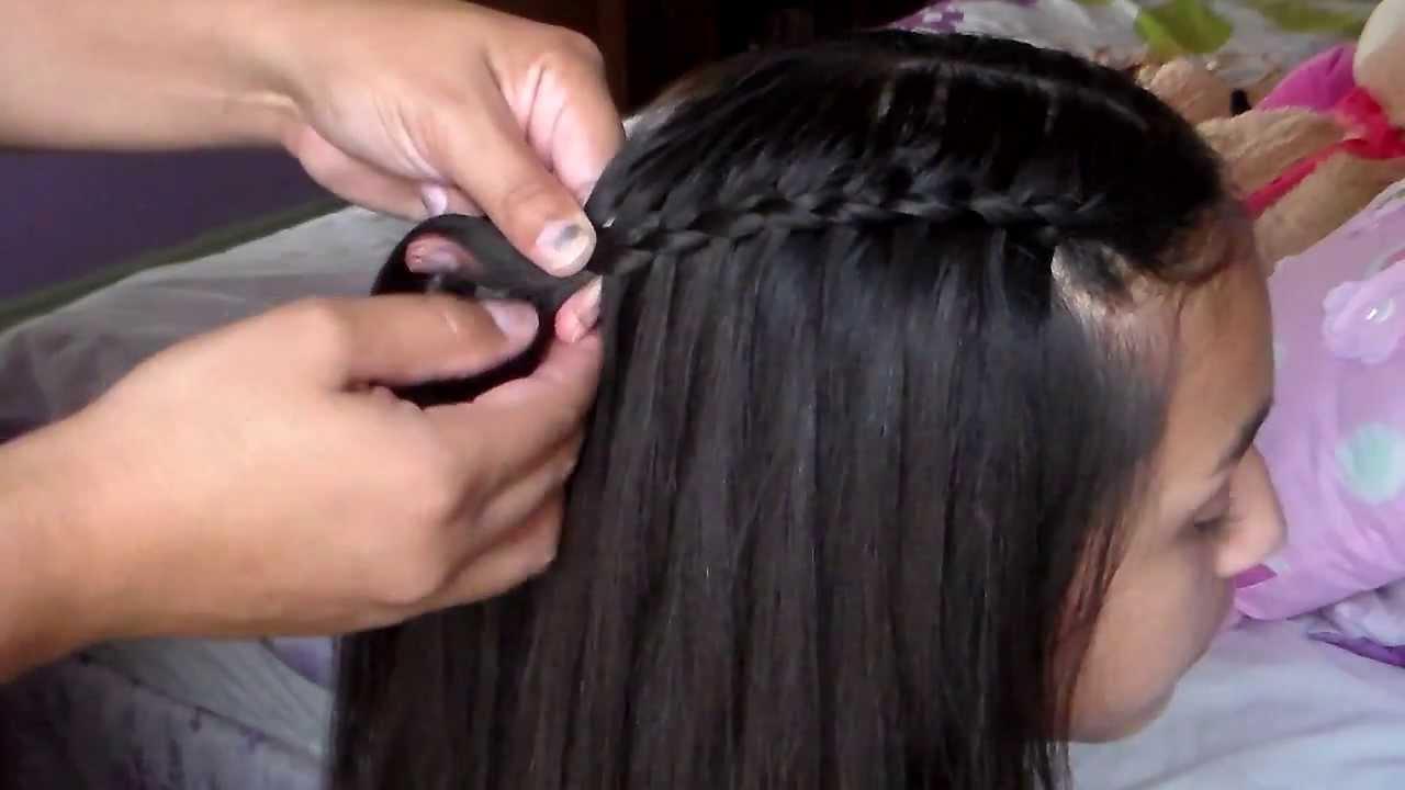 Como hacer trenza de cascada trenza de moda youtube - Como realizar peinados ...