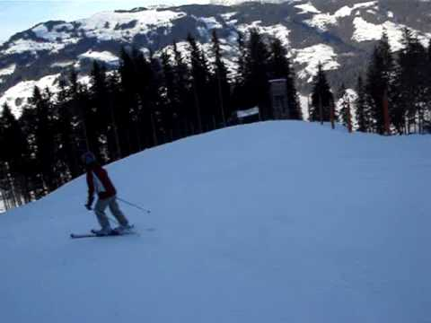 Skiing the Red Run from Choralpe to Brixen, SkiWelt, Austria. Part 1