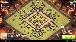 TH8 anti dragon base attack wih dragon and hog rush (Clash of clans) TH8 클랜전 안티 드레곤 베이스 공격 드레곤 호그 러쉬