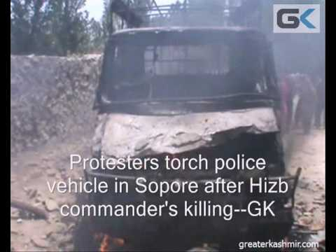 Police Vehicle Torched By Protesters In Sopore After Militant Killing