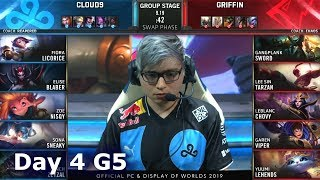 C9 vs GRF | Day 4 S9 LoL Worlds 2019 Group Stage | Cloud 9 vs Griffin