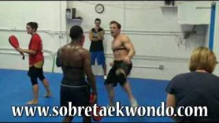 Taekwondo Olympic training with Juan Moreno - kicking target.