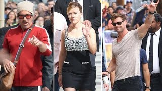Scarlett Johansson, Robert Downey Jr. And Chris Hemsworth Promote 'Avengers' At Jimmy Kimmel Live!
