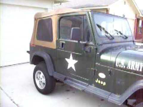 Jeep Wrangler 1995 YJ Willys Decal Kit US Army