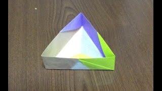 折り方 折り紙四角箱折り方 : 折り紙 三角箱 折り方 作り方 14 ...