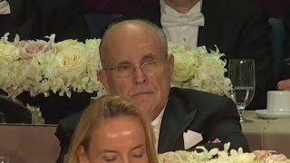 Giuliani Scowls As Hillary Roasts Him At Al Smith Dinner