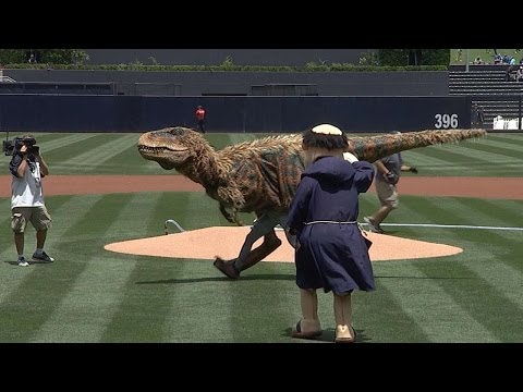 Baby T-Rex throws out ceremonial first pitch