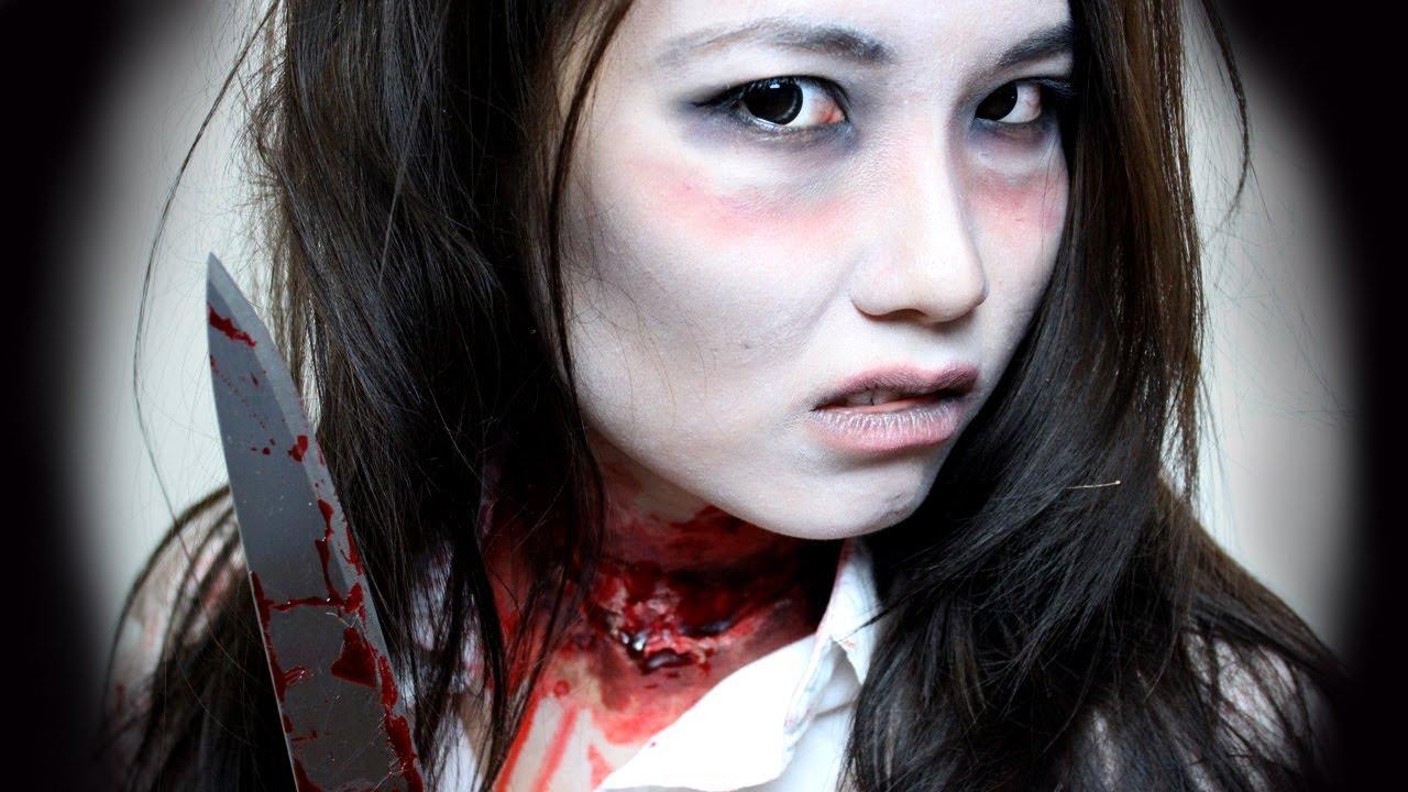 Easy Slit Throat Zombie Last Minute Halloween Makeup  YouTube - Quick And Easy Halloween Makeup