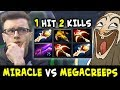 Miracle 2x RAPIER Kunkka vs Megacreeps — 1 hit Double Kill is enough?