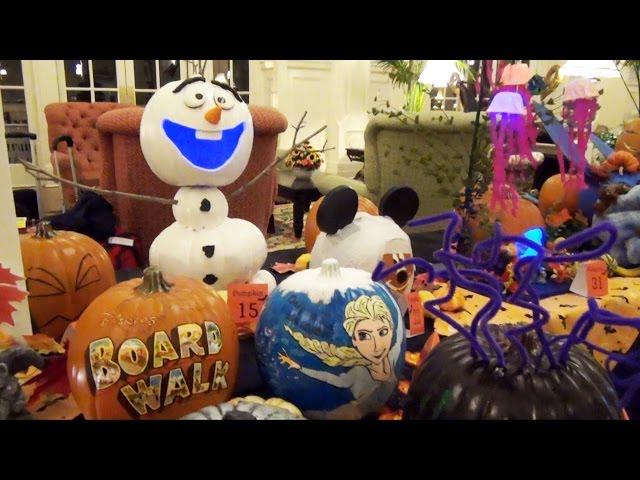 Halloween Cast Member Pumpkin Decorating at Disney's Boardwalk Resort Including Olaf, Elsa, Baymax