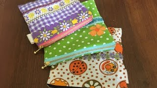 【DIY】簡単裏布付きファスナーポーチの作り方☆ How to Sew Zipper Pouch
