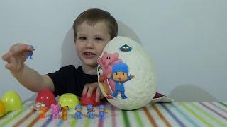 Покойо огромное яйцо с сюрпризом открываем игрушки Giant surprise egg Pocoyo toys