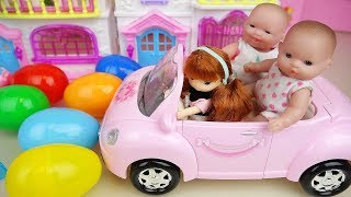 Baby doll Surprise egg house and pink car toys baby Doli play