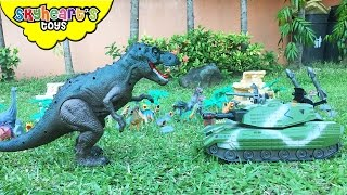EVIL TANK attacks Dinosaur Family | T-Rex, Triceratops, Stegosaurus, dinosaur toys for kids playtime