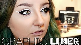Graphic Liner Tutorial | Using NYC Liquid Liner & NYX White Liquid Liner | RawBeautyKristi