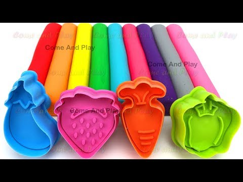 Learn Colors with Play Doh Modelling Clay and Fruit and Vegetable Molds