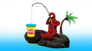 Play Doh Stop Motion Animated and Kinder Surprise Unpacking, Spider Man fishes, Patrick, YTFMM cart