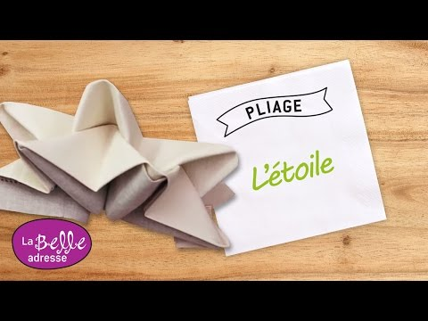 Pliage de serviette en forme d 39 toile youtube - Pliage de serviette en papier flocon etoile ...