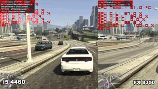 AMD vs. Intel in GTA V (Intel i5 4460, i3 4150 and AMD FX 8350, FX 6300)