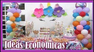 MESA DE DULCES DE UNICORNIO+IDEAS ECONOMICAS Y FACILES