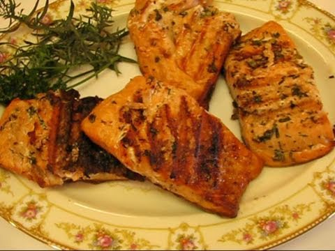 Betty's Grilled Salmon Steaks with Herb Butter - YouTube