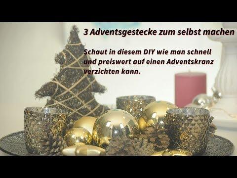 3x Weihnachtsgesteck in diesem #DIY, die preiswerte Alternative zum Adventskranz #XMAS #Deko