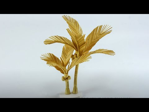 [Handmade] How to make a coconut tree with toothpicks - Làm cây dừa bằng tăm tre