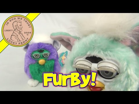 Talking Furby Babies - Purple & Green - White & Green. 1999 Tiger Electronics