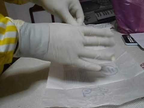 Colocación de guantes estériles - Método rápido