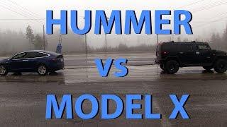 Tesla Model X vs Hummer H2 tug of war
