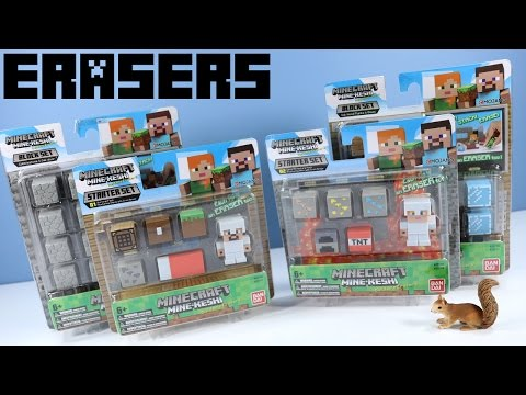 Minecraft Mine-Keshi Eraser Toy Blocks Starter Set and Block Packs Ban Dai