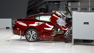 2017 Nissan Maxima passenger-side small overlap IIHS crash test