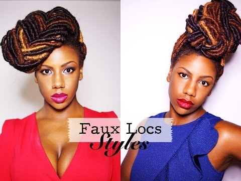 Faux Locs Styles: Braided Bun and Fishtail Braid Updo