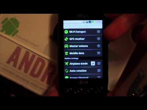 Wifi Hotspot enable LG Optimus V - Wireless Hot spot Quick Settings install Virgin Mobile Android