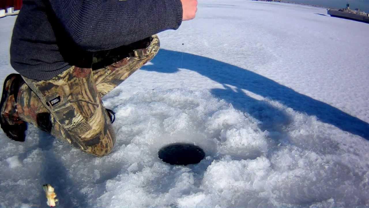 Wisconsin racine harbor ice fishing for brown trout and for Racine harbor fishing report