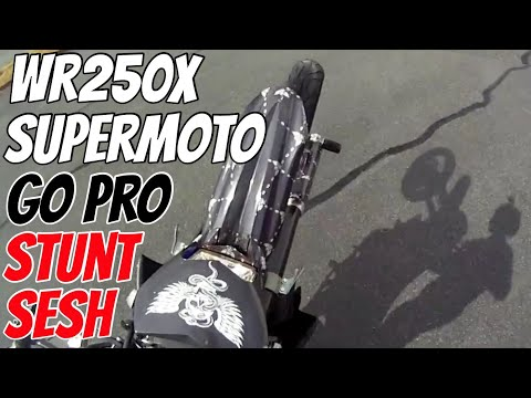 wr250x supermoto stunt sesh at the lot for a gopro tester clip