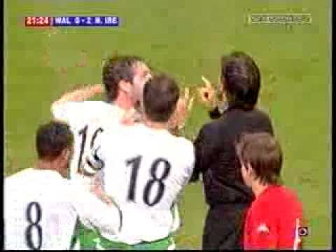 Wales 2 - 2 Northern Ireland - David Healy's Goal and red card.