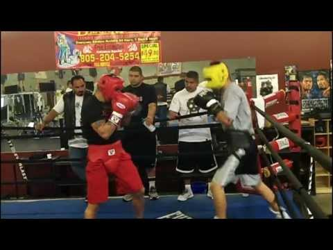 Marcos Maidana sparring Andrew Ruiz at the Robert Garcia Boxing Academy (August 2012) Image 1
