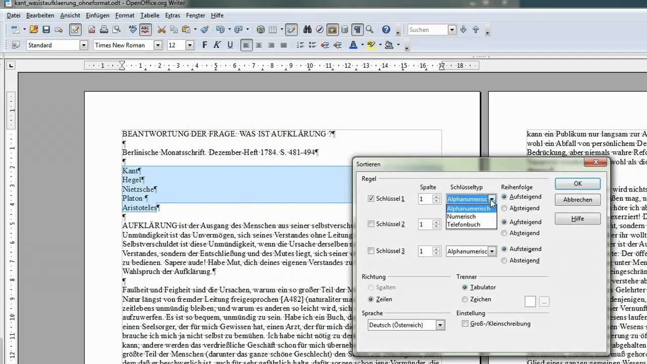33 einfachen mehrzeiligen text sortieren openoffice libreoffice writer youtube - Openoffice or libre office ...