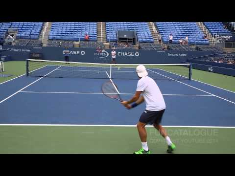 David Ferrer Practice 2014 US Open 1/2