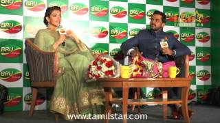Karthi And Kajal Aggarwal At Bru Coffee Meet