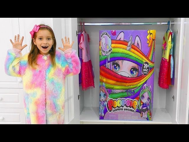 Гигантский Подарок в шкафу Игрушки и КУКЛЫ Единорожки Пупси или Giant Poopsie Slime Surprise