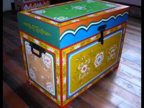Muebles altar budista baul mesas pintados en estilo - Muebles de madera pintados a mano ...
