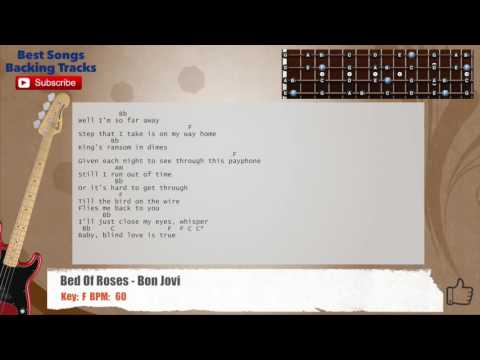 Bed Of Roses  Bon Jovi Bass Backing Track with chords and lyrics