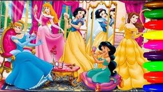 Disney Princesses CinderellaArielBelleSnowwhiteRapunzel Coloring Pages Kids Learning